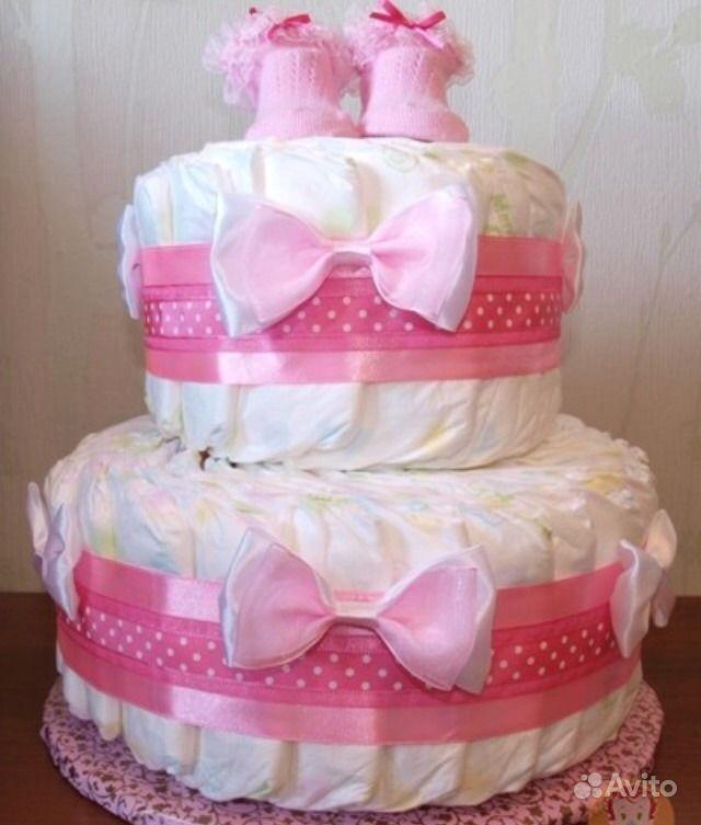 Тортики из памперсов для девочки своими руками