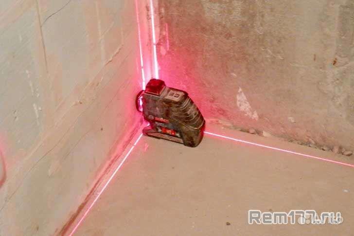 штукатурка стен с помощью лазерного уровня