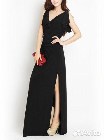 Купить платье черное длинное с разрезом