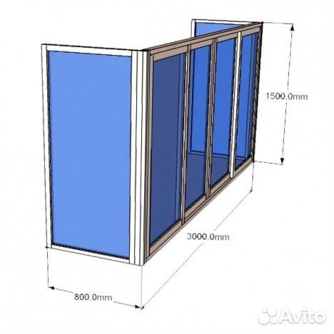 Заводская алюминевая конструкция на балкон 3.2 м купить в мо.