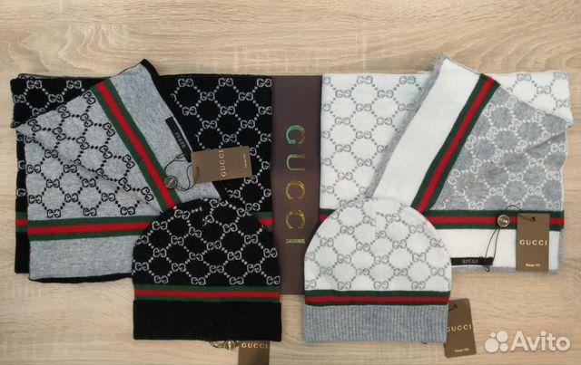 Комплект унисекс шапка и шарф Gucci купить в Москве на Avito ... a49a3719c36