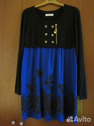 b32798effa8 Черно-синее вязан платье туника длин рукав