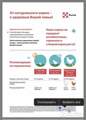 Комбикорм для несушек, яичных птиц Purina - 40 кг 89600500561 купить 3
