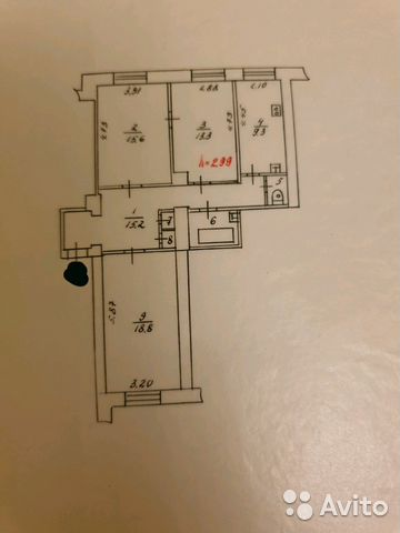 Продается трехкомнатная квартира за 3 000 000 рублей. Мурманск, Рыбный проезд, 8.