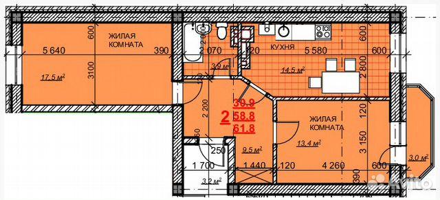 2-к квартира, 63.3 м², 3/5 эт. 89034467707 купить 1