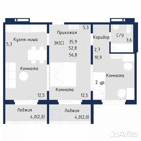 2-к квартира, 57 м², 10/18 эт. 89831011023 купить 5