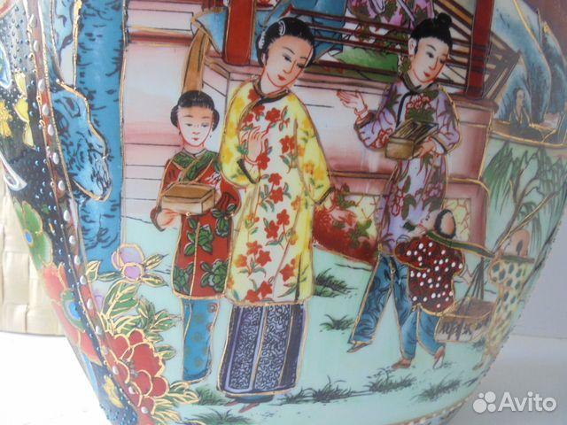Ваза Китай костяной фарфор роспись позолота  89105009779 купить 4