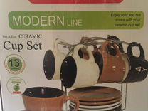 Кофейные чашки 6 шт.и 2 блюдца керамические,новые
