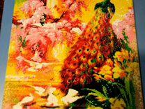 """Алмазная мозаика, картина """"Павлин в райском саду"""""""