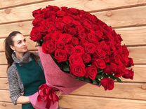 101 роза огромный букет 90 см